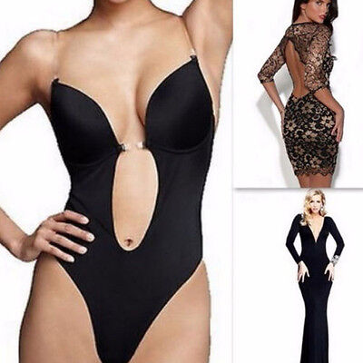 dfc3208f8e7 US Deep Plunge Thong Bodysuit Shapewear Backless Clear Strap Convertible  Bras