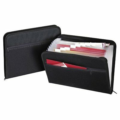 Globe Weis 13 Pocket Fabric Expanding Zip File Letter Size Black Single 84087Blk