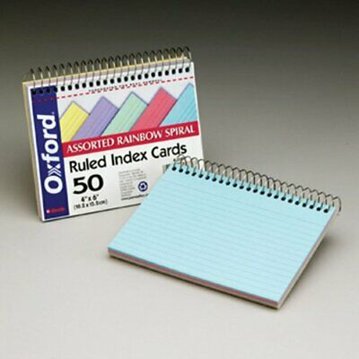 Oxford Spiral-bound 4 X 6 Index Cards - 50 Card - Ruled - 6 X 4 - 1 Pack -