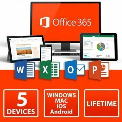 Microsoft Office 365 Home  5 Devices Mac Windows   Mobile Lifetime