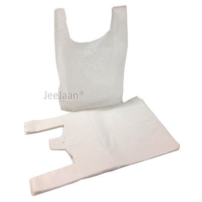 100 x Strong WHITE PLASTIC VEST CARRIER BAGS XL 13