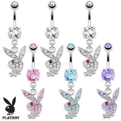 Playboy Bunny Dangle Belly Ring Paved CZ Gems Pierced Navel Naval Sexy Czs Dangle Belly Ring