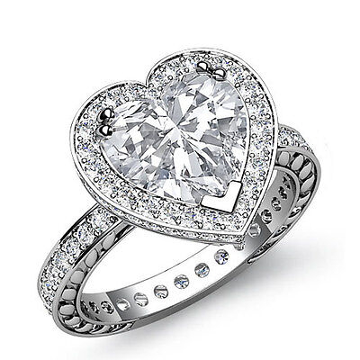 Floral Design Double Prong Halo Heart Cut Diamond Engagement Ring GIA I VS2 2Ct
