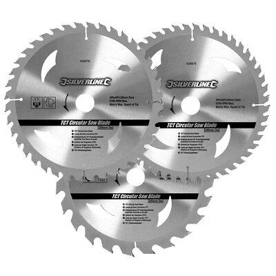 "3 x 210mm 8 1/4"" TCT Circular Saw Blades 30mm Bore 16 & 25 mm Reduction Rings"