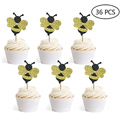 Bumble Bee Cupcake Toppers Gender Reveal Baby Shower Birthda