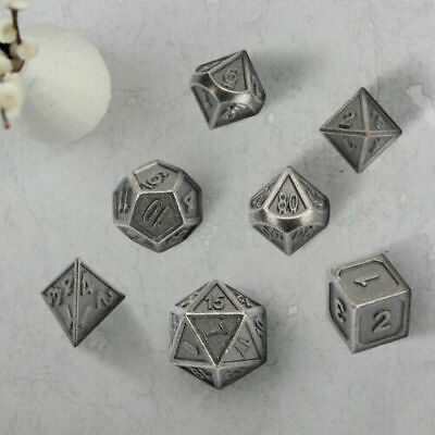 7Pcs/Set TRPG Game Dungeons & Dragons Polyhedral D4-D20 Nickel-copper Dice+Box