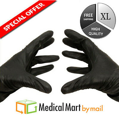 100 NITRILE Disposable Gloves Powder & Latex Free Industrial X-Large 4 Mil Black