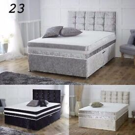 💥💗🔥SAME DAY FASTEST DELIVERY💗🔥BRAND New Double/King Crush Velvet Divan Bed+ Deep Quilt Mattress