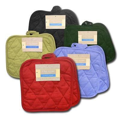 """Twelve 12 Pack Classic Home Cotton Pot Holders 8"""" Square Solid Color Cooking"""