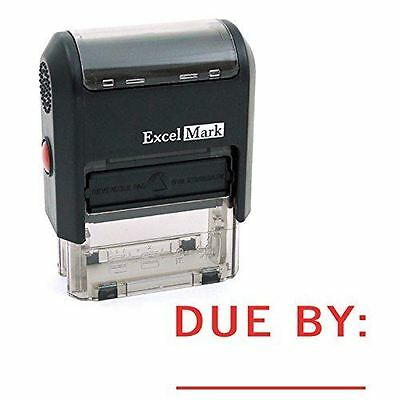 New Excelmark Due By Date Self Inking Rubber Stamp A1539 Red Ink