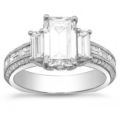 2.20 Ct Emerald Cut & Baguette Diamond Engagement Ring Euro Shank H,VS1 GIA 14K 2