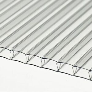 10mm Clear Twin Wall Polycarbonate Sheet 1000mm Long x 600mm Wide  *Stock Sale*