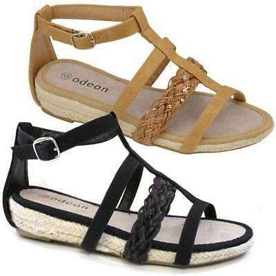 LADIES FLAT SANDALS WOMENS GIRLS SUMMER GLADIATOR FANCY STRAPPY BEACH SHOES SIZE