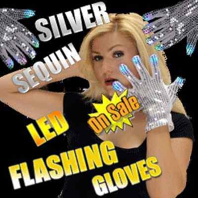 1 Pr Flashing SILVER SEQUINED GLOVES MJ Michael Jackson Sequin Dance Costume - Mj Gloves