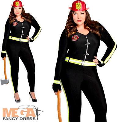 Fire Girl Plus Size 18-20 Ladies Fancy Dress Firefighter Adults Womens - Plus Size Fire Woman Costume