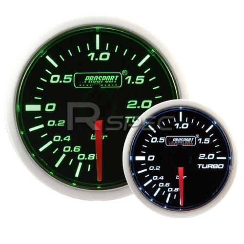 Prosport 52mm Super Smoked Green and White Turbo Boost Gauge BAR