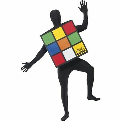 Halloween Costume Rubik's Cube (Ladies Mens 80s Rubiks Cube Costume Unisex Fancy Dress Retro Stag Hen Party)