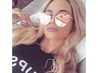 BRAND NEW - Women Mirrored Lenses Designer Cat eye Rose Gold Pink Aviator Sunglasses UV400