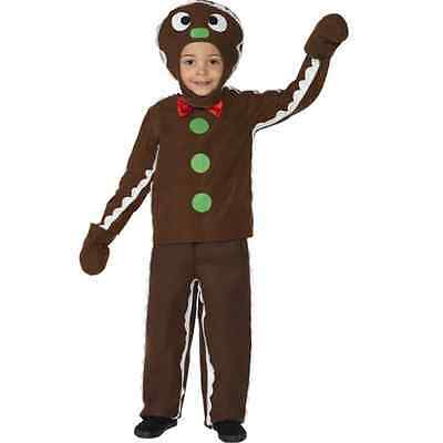 Boy's Toddler Gingerbread Man Fancy Dress Costume Christmas Kids Party Theme Fun ()