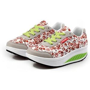 Womens grey floral embroidered leather lace up rocker bottom shoe sneaker