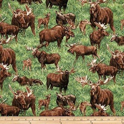 Scene Quilt Fabric - Animal Fabric - American Wildlife Moose Allover Scene Green - Fabri-Quilt YARD