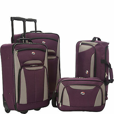 American Tourister Fieldbrook II 4 Pc Nested Luggage Luggage Set PURPLE/GREY