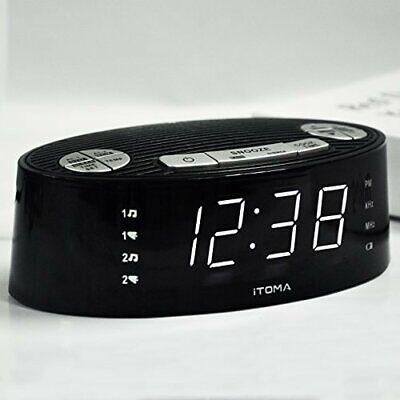 iTOMA Alarm Clock Radio, Digital AM FM, Dual Alarm, Snooze, Dimmer Control,