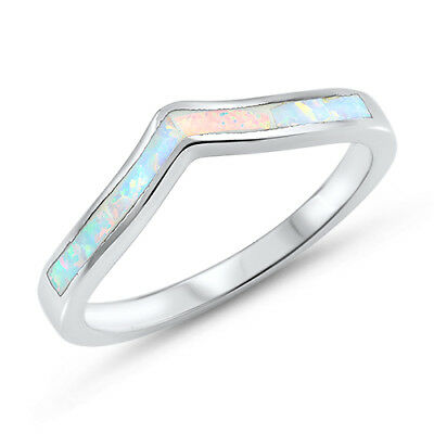 White Lab Opal Chevron Thumb Pointed Ring .925 Sterling Silver Band Sizes 4-12