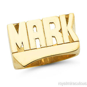 Personalized name ring block letters shiny finish 12mm 14k for Block letter rings