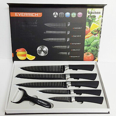 EVERRICH Knife set 6in1 Kitchen Chef Knives Sashimi Fruit Bar Meat fish fruit bk