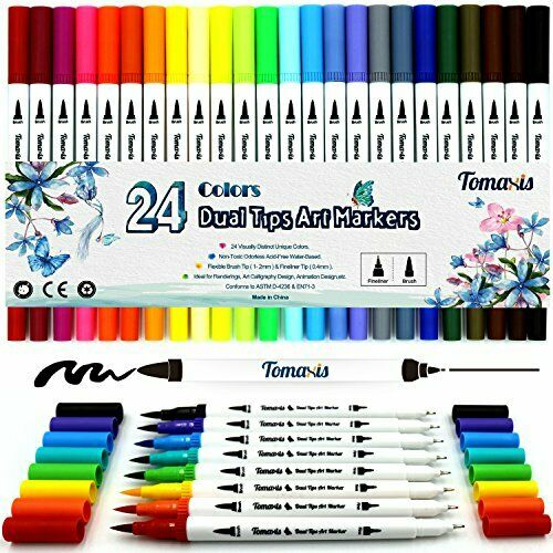 24 Pack Dual Tip Brush Marker Pens Colored Pen Calligraphy Fine Point Set