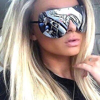 OVERSIZED Huge Big MASK SHIELD Half Face Owen Polarized Large MIRROR Sunglasses