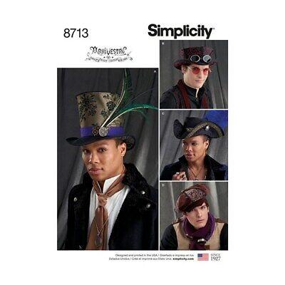 SIMPLICITY PATTERN 8713 COSTUME PIRATE STEAMPUNK MENS HATS SIZES S M L NEW UNCUT