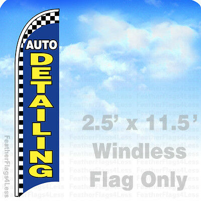 Auto Detailing - Windless Swooper Flag Feather Sign 2.5x11.5 - Checkered Bb
