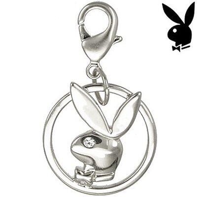 AUTHENTIC Playboy Charm Bunny Logo Swarovski Crystal Silver Plated for Bracelet