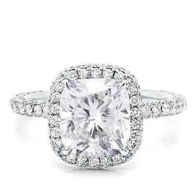 GIA F, VVS1 2.00 Ct Halo Micro Pave Cushion Cut Diamond Engagement Ring 14K WG