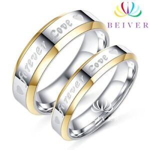 Engraved his and hers bands titanium stainless steel 100% NEW