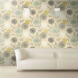 Dandelion wallpaper Floral - Cream / Teal / Lime