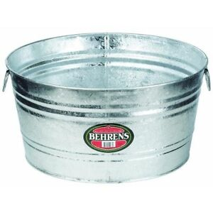 lot of 3 behrens model 0 galvanized round wash tubs 9