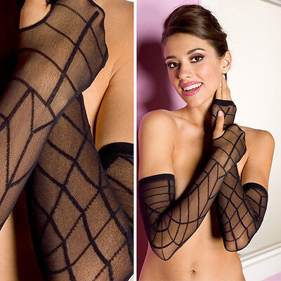 Black Sheer Goth Witch Spider Web Halloween Fingerless Long Gloves Arm Warmers - Black Arm Warmers