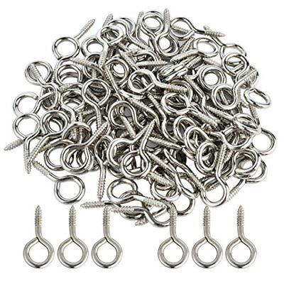 100 Pcs 1 Silver Screw Eye Shape Hooks Ring Self-tapping Zinc Plated Metal Cup