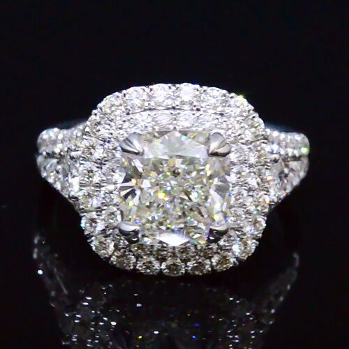 3.30 Ct Cushion Cut Diamond Twin Halo Split Shank Engagement Ring H,VS1 GIA 18K