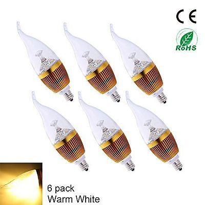 - 12pcs LED Candelabra Bulb E12 3W Warm White 3000K  Non-dimmable LED Candle Light