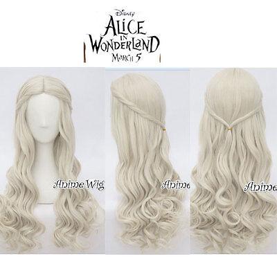 the white queen  Perücke 2018 Cosplay Gothic Alice in Wonderland 2 Weiß Haar TOP ()