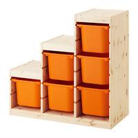 4 TROFAST Frame color pine + storage boxes