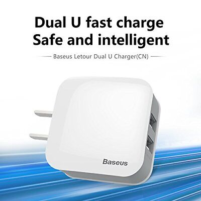 Baseus Letour Dual USB Go bust enclose Charger CN Plug 2.4A Charger Adapter For iPhone/Sams
