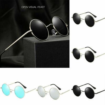 Herren Retro Rund Vintage Steampunk Sonnenbrille Polarisiert Verspiegelt Brillen
