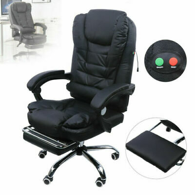 Ergonomic Office Chair Leather Massage Deck Computer Game Chair W Foot Pedal