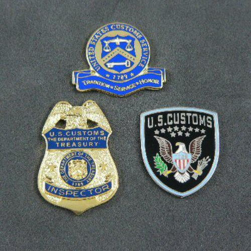 US U S Customs Inspector Border Officer Commemorative 3 Pin Set - defunct agency