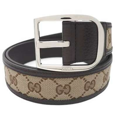 Pre-owned GUCCI 449716-KY9LN-9903 GG Canvas Belt Brown Leather Size 100/40 F/S